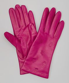 Take a look at this Clover Floral Leather Gloves by Portolano on #zulily today!