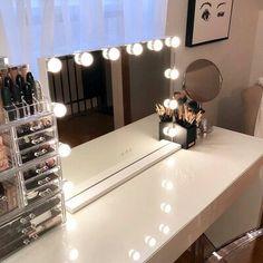 Lighted Vanity Mirror, Vanity Set With Mirror, Makeup Mirror With Lights, Mirror With Lights Around, Vanity Mirrors, Wall Mirror, Vanity Table Set, Vanity Room, Ikea Vanity