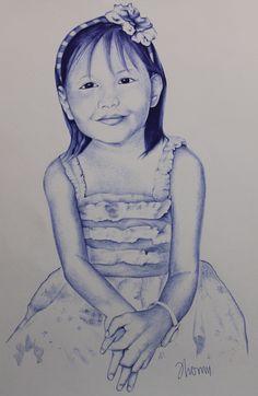 Retrato. Sofía Artista: @Jhomu  Técnica: Tinta - Bolígrafo Bic Azul 28*20cm