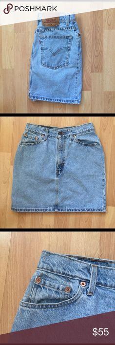 "VINTAGE Levi's Denim Mini Skirt Must have for spring! Super cute denim mini in perfect condition. Measurements:                                                    waist: 28""                                                                       length (waist to bottom hem): 17"" Levi's Skirts Mini"