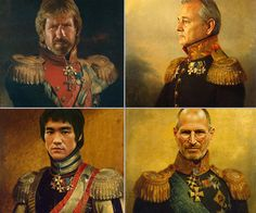 Obviously the only one of these celebrities who really sat for his French Republican Guard...or whatever...portrait in the 19th century is Chuck Norris because he's immortal and easily over 200 years old. The rest are fakes, Photoshopped--or re