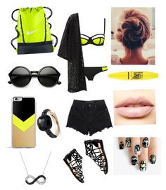 """""""Neons baby"""" by itzmorganr ❤ liked on Polyvore featuring MANGO, Alexander Wang, NIKE, Forever 21, Pomellato, LASplash, alfa.K and Maybelline"""