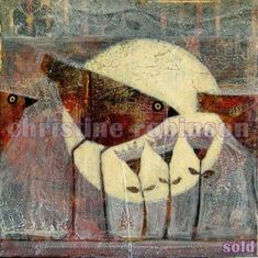 Songs to the Moon ~ Christine Robinson. Art Journal Inspiration, Painting Inspiration, Fairytale Art, Arte Popular, Naive Art, Whimsical Art, Bird Art, Art Techniques, Cat Art
