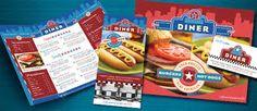 American Diner Restaurant Menu, Brochure, Poster, Flyer & Ad and Stationery Designs Diner Restaurant, Restaurant Design, Leaflet Design, American Diner, Relaxation Room, Stationery Design, Pop Tarts, Snack Recipes, Graphic Design
