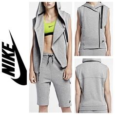 NWT Nike Tech Fleece Vest Brand new, with tags! Nike Tech Fleece Women's Vest. Lightweight Nike Tech Fleece keeps you warm and comfortable. Oversized hood for style and coverage. Off-center zipper and asymmetrical cut inspired by biker jackets. Bonded zip pocket at the chest provides secure storage. Ribbed hem and armholes keep the vest in place when you move. 69% cotton, 31% polyester. Nike Jackets & Coats Vests