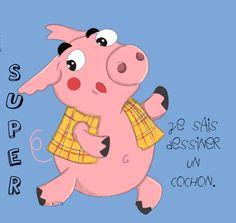 Youpi!!j ai dessiné un cochon!! Say hello Piggy!!