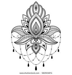 Mehndi lotus flower pattern for Henna drawing and tattoo. Decoration in ethnic o… Mehndi lotus flower pattern for Henna drawing and tattoo. Decoration in ethnic oriental, Indian style. Henna Tattoo Bilder, Henna Tattoo Muster, Henna Tattoo Designs, Mehndi Designs, Estilo Mehndi, Henna Patterns, Flower Patterns, Forearm Tattoos, Body Art Tattoos