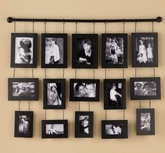 25 DIY Hanging Wall Decor Ideas Simple Home Decorating Wall Hanging Photo Frames, Diy Hanging, Hanging Pictures, Ideias Diy, Family Wall, Photo Displays, Picture Wall, Picture Collages, Home Accents