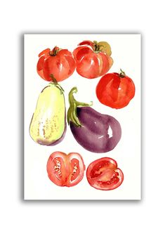 kitchen art#watercolor painting#instant download#printable art#tomato#handmade item#wall art#home decor#kitchen decor#food art#kitchen art Easy Cross, Simple Cross Stitch, Kitchen Art, Home Decor Kitchen, Art Watercolor, Cat Love, Food Art, Printable Art, My Etsy Shop
