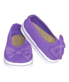 Another great find on #zulily! Purple Bow Slip-On Doll Shoes #zulilyfinds