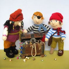 If only I had the skill/time/energy. SO cute!  PIRATES  toy doll  PDF email knitting pattern by toyshelf on Etsy, $4.95