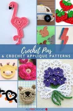 These free crochet applique patterns are fun to make and use to embellish all sorts of things. You can even make them into crochet pins to wear. Crochet Flower Patterns, Applique Patterns, Crochet Motif, Crochet Flowers, Crochet Appliques, Knit Patterns, Crochet Octopus, Crochet Bear, All Free Crochet