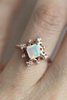 Rose Gold Opal & Diamond Ring | Capucinne on Etsy