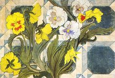 Pansies by Stanislaw Wyspianski Art Nouveau Illustration, Jugendstil Design, Geometric Quilt, Art Nouveau Design, Klimt, Pansies, Art Boards, Flower Art, Flower Power