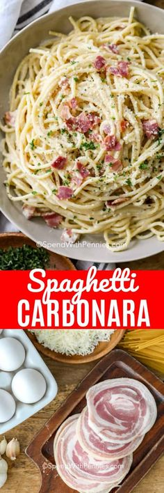 4 Points About Vintage And Standard Elizabethan Cooking Recipes! This Easy Authentic Spaghetti Carbonara Recipe Is One Of My Favorite Italian Pasta Recipes It's Great With Pancetta Or Prosciutto Italian Pasta Dishes, Italian Pasta Recipes, Yummy Pasta Recipes, Cooking Recipes, Recipes Dinner, Spaghetti Carbonara With Cream, Authentic Spaghetti Carbonara Recipe, Spagetti Carbonara, Easy Baked Ziti