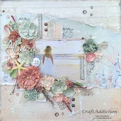 """Amy's Pretty Papers: Always Live in the Moment Layout. """"Sand and Sea"""" collection by 49 and Market"""