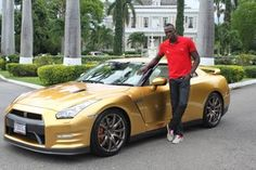@Nissan has given #UsainBolt a gold painted GT-R to match his gold medals #GTR