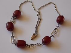 Vintage Antique Cherry Amber Silver Scroll by BraceletstoBuckles