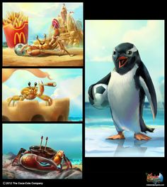The Art of Crabs and Penguins  :  Coca Cola by Wanchana Intrasombat, via Behance