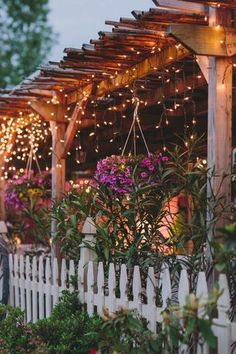 Rustic Landscape/Yard with Covered patio, Trellis, Custom Attached Wood Pergola, Fence, Christmas decor, Outdoor lighting