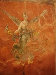 "#Pompeii  --  Roman Fresco  --  ""Winged Victoria""  (Nike)  --  1st Century CE  --  Excavated from Pompeii."