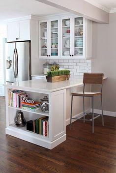 white tile backsplash + glass cabinet doors <3