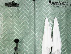 Avalon Gloss Subway Jade Green Tile – No Bathroom Renovation Cost, Diy Bathroom Remodel, Diy Bathroom Decor, Bathroom Interior, Bathroom Remodeling, Bathroom Ideas, Bathroom Layout, Bathroom Inspiration, Glass Tile Bathroom