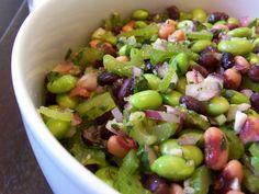 Edamame, black bean and black eyed pea salad