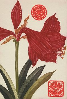 'Wallflower II, Amaryllis' etching with gold leaf by Jean Bardon