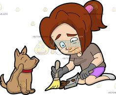 A Woman Cringes While Picking Up The Poop Of Her Dog :  A woman with reddish brown hair in ponytail wearing a pale brown shirt bright purple shorts gray gloves and shoes kneels down on the floor lips frowning and eyes twitching in disgust as she sweeps the brown poop of her cute dog with light brown coat and red collar using a yellow broom with small beige handle in her right hand into the gray dustpan in her left hand  The post A Woman Cringes While Picking Up The Poop Of Her Dog appeared…