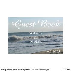"Pretty Beach Sand Blue Sky Wedding Guest Book with lovely ocean image on front and back.  Dimensions: 8""l x 11""w, 61 sheets; 122 pages.  Features laminated front and back hard covers with a glossy finish.  Cover printed on silver halide photo paper.  Columns read ""Names"" and ""Message"" inside book.  70 lb cream colored writing pages.  Vellum lining sheet - front and back Protective outer box included.  Original Photography by TamiraZDesigns."