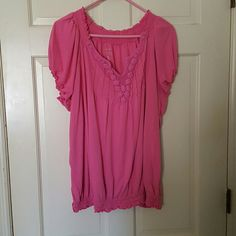 Short sleeve cotton knit pink top Top has elastic band at bottom.  Has cute detailing on the front Lane Bryant Tops Tees - Short Sleeve