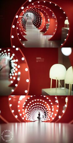 The TUNNEL OF LIGHT installation by Ferruccio Laviani at Foscarini Spazio Brera. Kurage table lamp by Japanese studio Nendo with Italian designer Luca Nichetto for Foscarini.