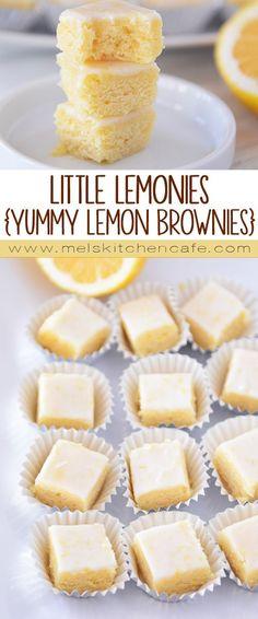 Lemon Brownie Bites These Little Lemonies are like little bites of sweet, fresh, lemony heaven.These Little Lemonies are like little bites of sweet, fresh, lemony heaven. Lemon Desserts, Lemon Recipes, Just Desserts, Sweet Recipes, Baking Recipes, Delicious Desserts, Yummy Food, Healthy Food, Brownie Recipes