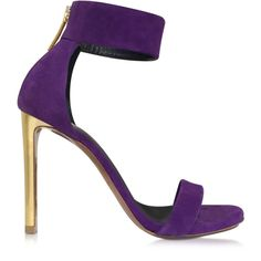 Roberto Cavalli Shoes Evening Purple Suede Sandal ($725) ❤ liked on Polyvore featuring shoes, sandals, heels, purple, sapatos, heeled sandals, ankle wrap sandals, purple evening shoes, special occasion shoes and purple sandals