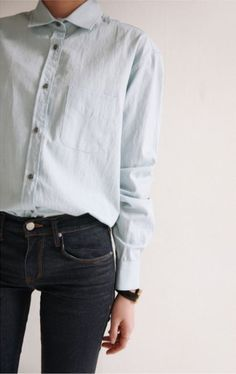 light blue shirt + dark wash jeans