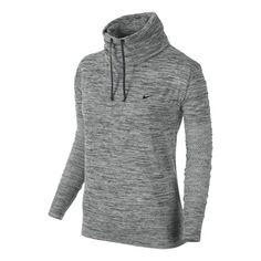 Womens Nike Dri-Fit Infinity Coverup Long Sleeve No Zip Technical Tops - Heather Grey XS ...