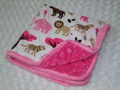 Pink Jungle Tales Minky Blanket Ready to by tarascozycreations