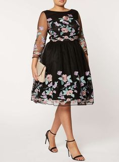 913f5d3259   Chi Chi London Curve Floral embroidered midi dress -- Plus Size Clothing  Midi