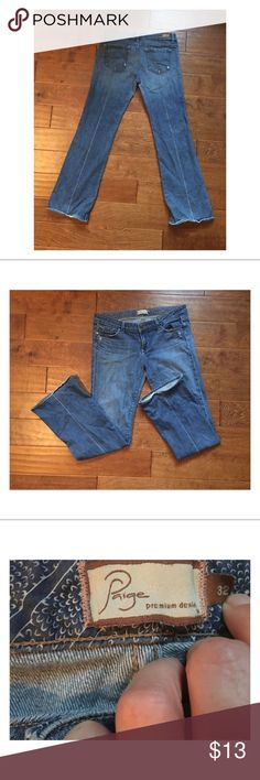 """Paige Jeans Anthropologie Brand Well-Loved 👖 Bootcut Laurel Canyon Jeans by Paige (Anthropologie brand). """"A low rise boot cut that is slim through the hips and thighs while maintaining a classic boot cut shape."""" Along with coming from the factory with the distressed look, these jeans show some additional wear especially at the hem. However they are completely structurally sound and have a lot of adventure left in them. Paige Jeans Jeans Boot Cut"""