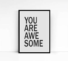 Retro Typography Poster Digital Art Print You Are by mixarthouse