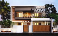 Searching for Kerala Home Design 2200 sq ft 4 bed room residence ? then here is a conceptual idea visualised by the home design team cochin. Modern Bungalow Exterior, Modern Exterior House Designs, Modern Bungalow House, Modern House Facades, Latest House Designs, Modern Home Exteriors, Interior Modern, Modern Houses, House Outer Design