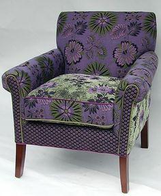Salon Chair in Jangala Purple: Mary Lynn O'Shea: Upholstered Chair - Artful Home. I so love this chair.
