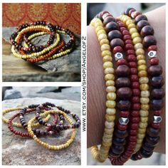 Bohemian Brick and Oat Stretch Stacker Bracelets - Stretch Beaded in Red, Oat Czech Glass and Dark Dyed Wood by Angelof2, $25.00