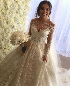 Long sleeve wedding dresses like this are ornate and can be costly.  But our…