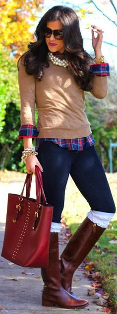 Camel Color Sweater With Check Shirt, Dark Blue Jeans, Brown Boot And Red Bag