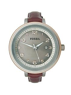 Fossil Bridgette Brown Leather Women's watch #AM4304