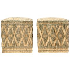 Pair of Wicker Stools with Cord Decorations | 1stdibs.com