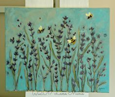 Image of Frequent Visitors - 16 x 20 acrylic painting on canvas - lavender and bumblebees