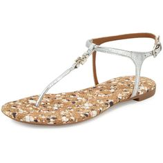Tory Burch Marion Confetti Quilted T-Strap Sandal ($240) ❤ liked on Polyvore featuring shoes, sandals, silver, tory burch shoes, metallic flats, leather flats, leather sandals and ankle strap sandals